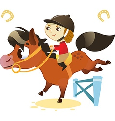 Child with Small Horse jumping a Hurdle vector image