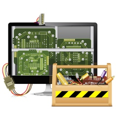 Computer repair with toolbox vector
