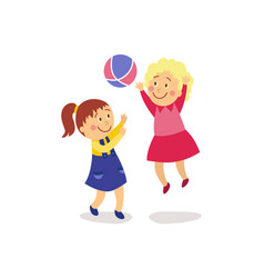 flat girls playing with inflatable ball vector image