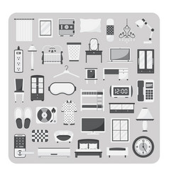 flat icons bedroom and furniture set vector image vector image