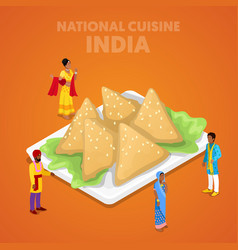 isometric india national cuisine with samosa vector image
