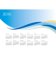 Template of 2016 calendar on blue background vector image vector image