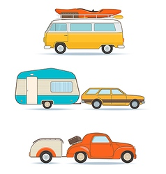 Vintage Caravans and Cars vector image vector image