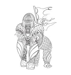 Zentangle patterned gorilla standing vector image vector image
