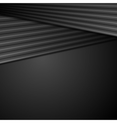 Black abstract tech background with smooth stripes vector image vector image
