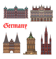 german tourist sight and travel landmark icon set vector image vector image