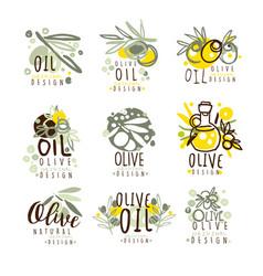 olive oil set for label design organic natural vector image