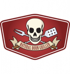 pirate BBQ emblem vector image vector image