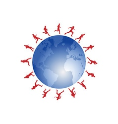 red runners around the world vector image vector image