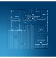 Architectural blueprint with plan vector image