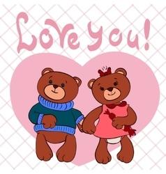 Bears love girl and boy vector image
