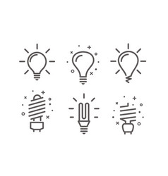different modern lightbulb icons set isolated on vector image vector image