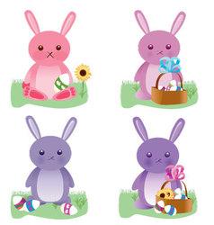 Easter bunnies set vector image
