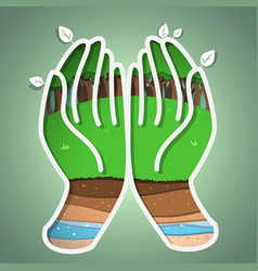 green earth in hand vector image vector image