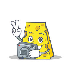 Photography cheese character cartoon style vector