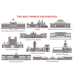 set of isolated university and institute college vector image vector image