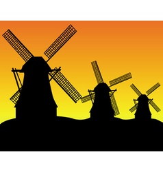 dutch windmill silhouettes vector image