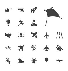 22 fly icons vector