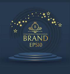 3d elegant podium with gold stars realistic vector image