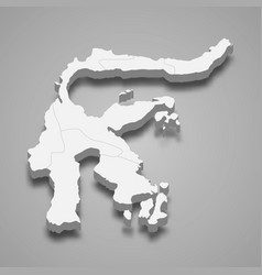 3d isometric map sulawesi is a island vector