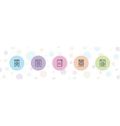 5 laundromat icons vector