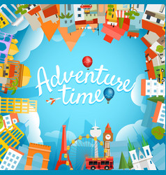 adventure time travel concept with lettering logo vector image