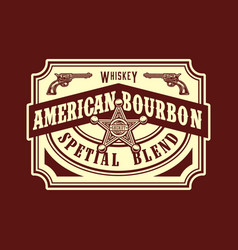 american bourbon wild west style label vector image
