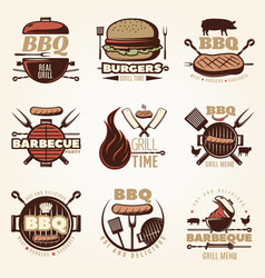 barbecue colorful emblems set vector image