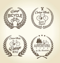 bicycle retro laurel wreath background vector image