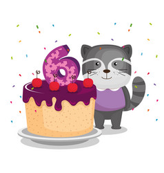 birthday card with candle number six vector image