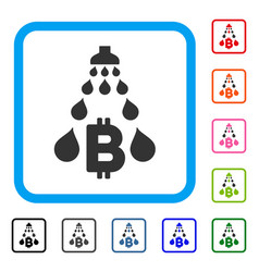 Bitcoin laundering shower framed icon vector