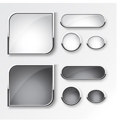 black and white button set the design vector image