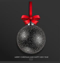 black glass christmas ball vector image