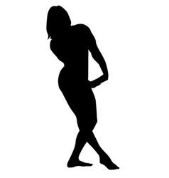 Bodybuilding poses silhouette vector