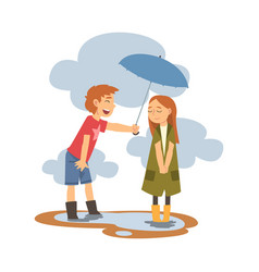 Boy holding umbrella over girl in rainy weather vector