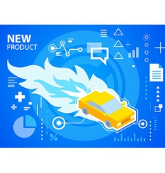 Bright fire and car on blue background for b vector