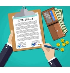 Businessman document signing up contract agreement vector