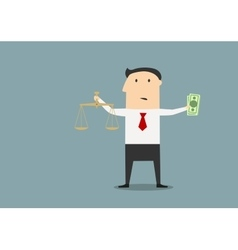 Businessman with justice scales and money vector image