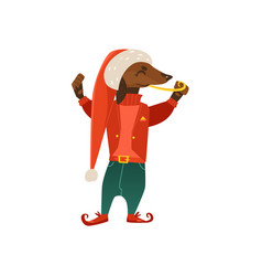 Cartoon christmas elf costume dog character vector