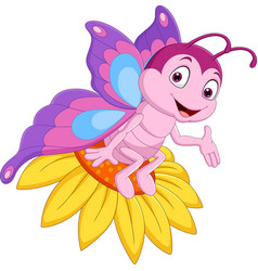 cartoon funny butterfly sitting on flower vector image