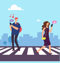 cartoon man falls in love in woman on crosswalk vector image