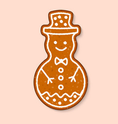 christmas cookie snowman cake sweet vector image