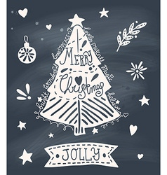 Christmas greeting card with sketchy Christmas vector image