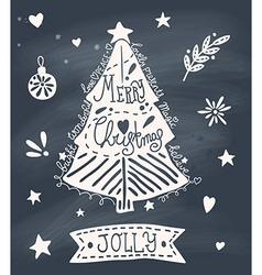 Christmas greeting card with sketchy Christmas vector image