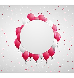 Circle badge and red balloons vector