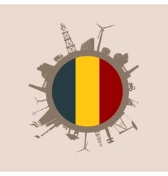 Circle with industrial silhouettes Belgium flag vector