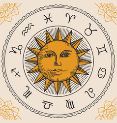 circle zodiac signs with hand drawn sun vector image