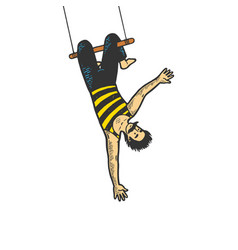 circus acrobat on trapeze sketch engraving vector image