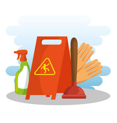Cleaning supplies with caution sign spray gloves vector