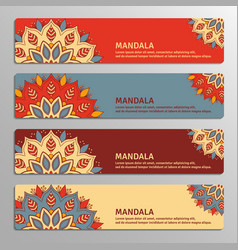 colorful set of ornamental banners with flower vector image
